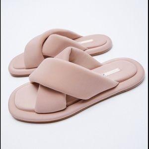 Zara New Blush Pink Squared Toe Puffy Flat Sandals Slides Shoes, nwt, size 8